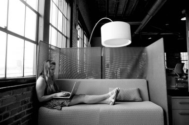 Cosy sofas and ambient lights.